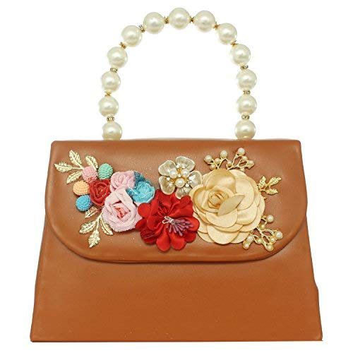 Flower Clutches Handbags Party Wear bag (Brown) - Bagaholics Gift