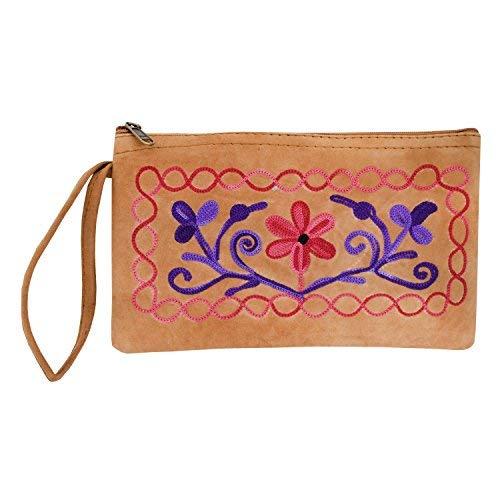 Kashmiri Crewel Embroidery Wristlet Pouch (Light Brown) - Bagaholics Gift
