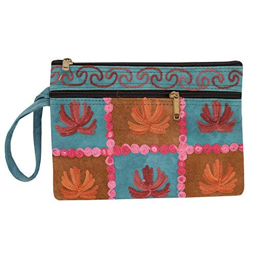 Kashmiri Crewel Embroidery pure Leather Wristlet Pouch (Multicolor) - Bagaholics Gift