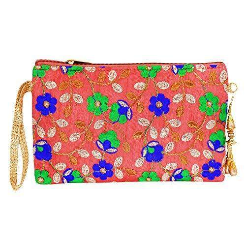Ethnic Silk Embroidery Work Multipurpose Pouch (Peach) - Bagaholics Gift