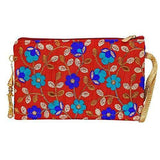 Ethnic Silk Embroidery Work Multipurpose Pouch (Red) - Bagaholics Gift