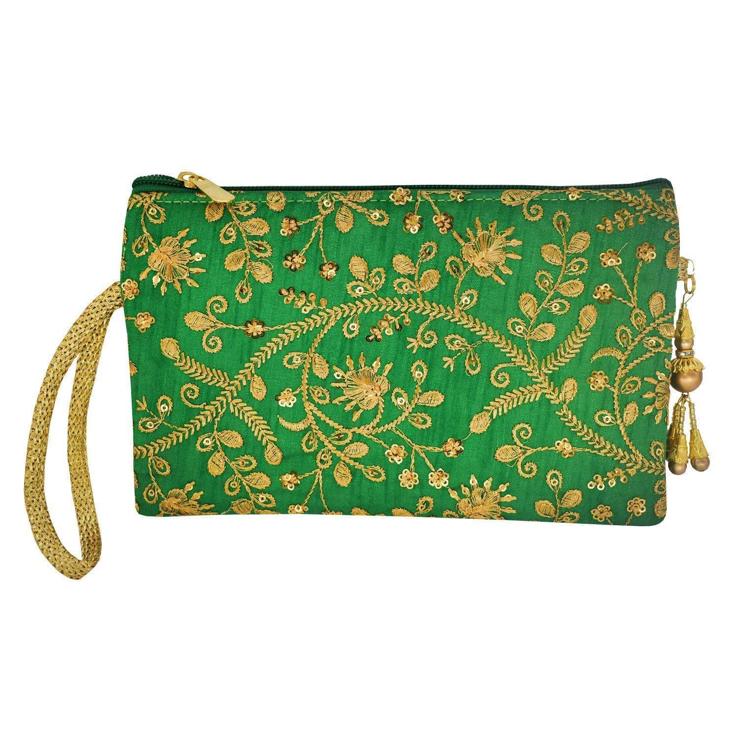 Embroidery Multipurpose Pencil Pouch Ladies Purse (Green) - Bagaholics Gift