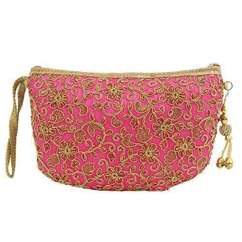Multipurpose Embroidery Pouch (Pink) - Bagaholics Gift