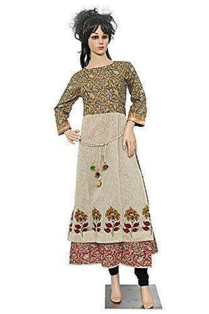 Casual Cotton Double Layered Stitched Long Kurtis for Women's - Bagaholics Gift