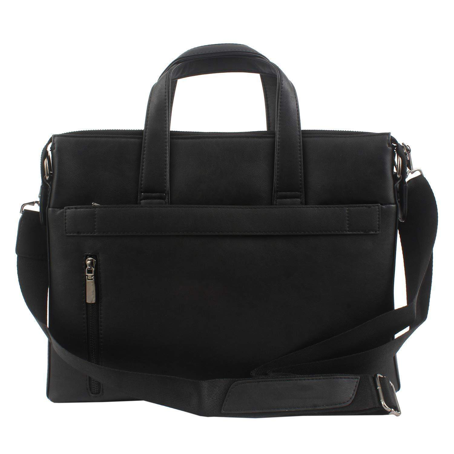 Pu Leather Office Bag Messenger Bag Laptop Bag (Black) - Bagaholics Gift