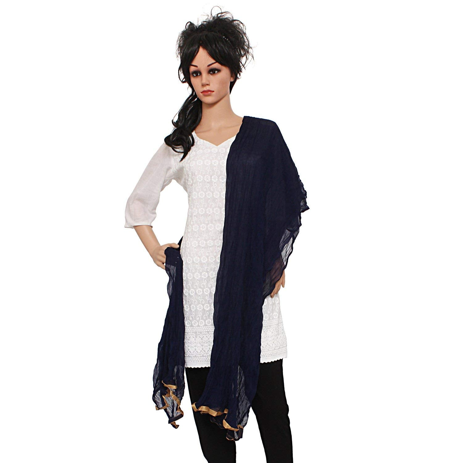 Solid / Plain Women's Dupatta With Golden Lace/Border (Dark Blue) - Bagaholics Gift