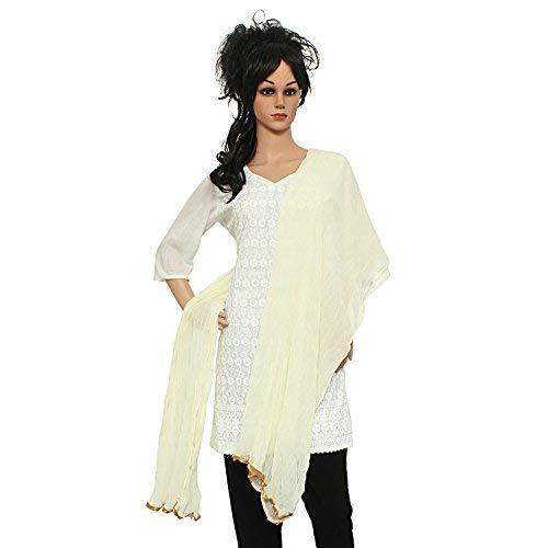 Solid / Plain Women's Dupatta With Golden Lace/Border (Off-White) - Bagaholics Gift
