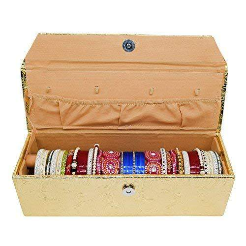 Single Roll Wooden Bangle Organizer Box (Gold) - Bagaholics Gift