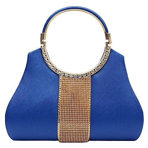 Diamond Studded Party wear Clutch (Blue) - Bagaholics Gift