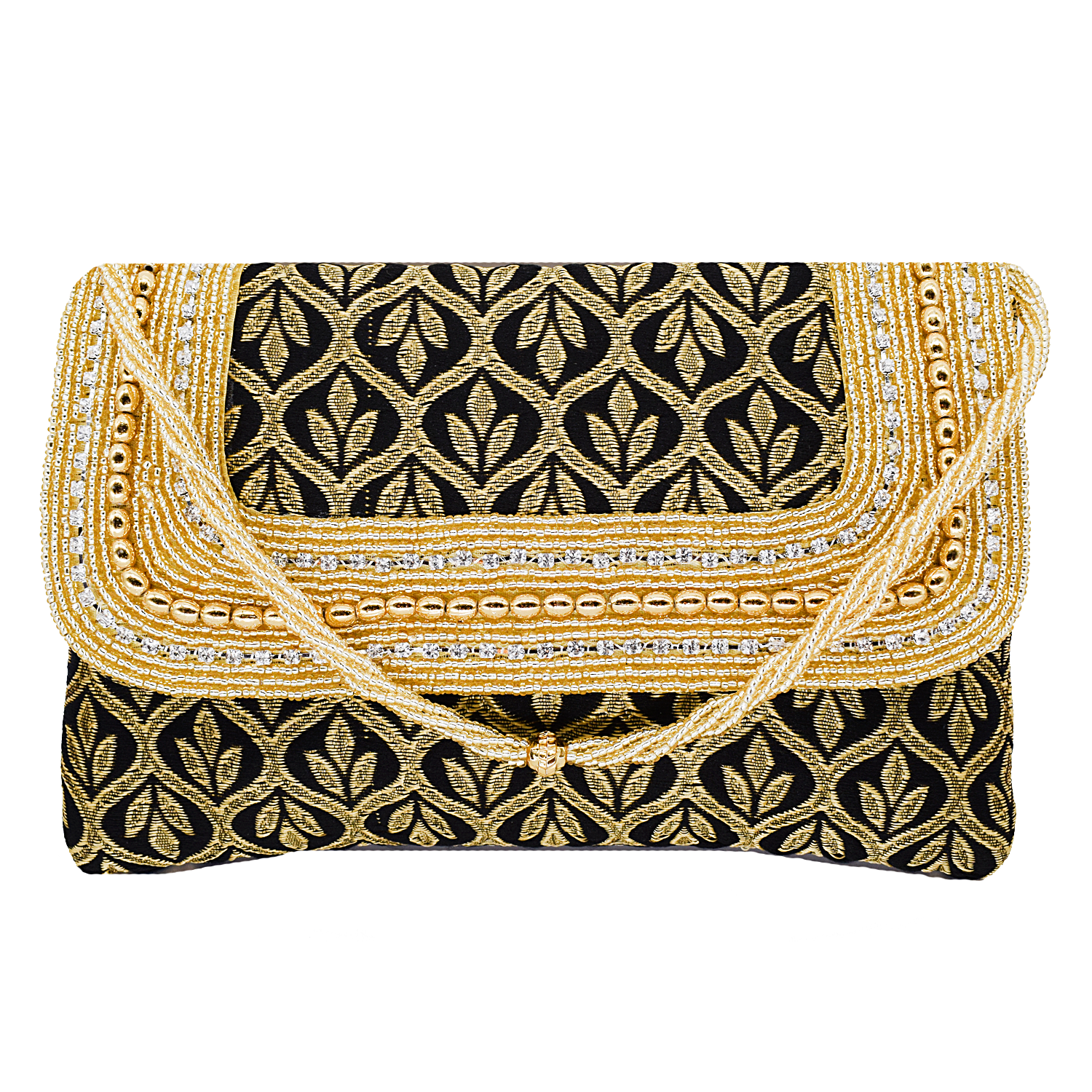 Ethnic Beads and Diamond Studded Silk Clutch (Black) - Bagaholics Gift