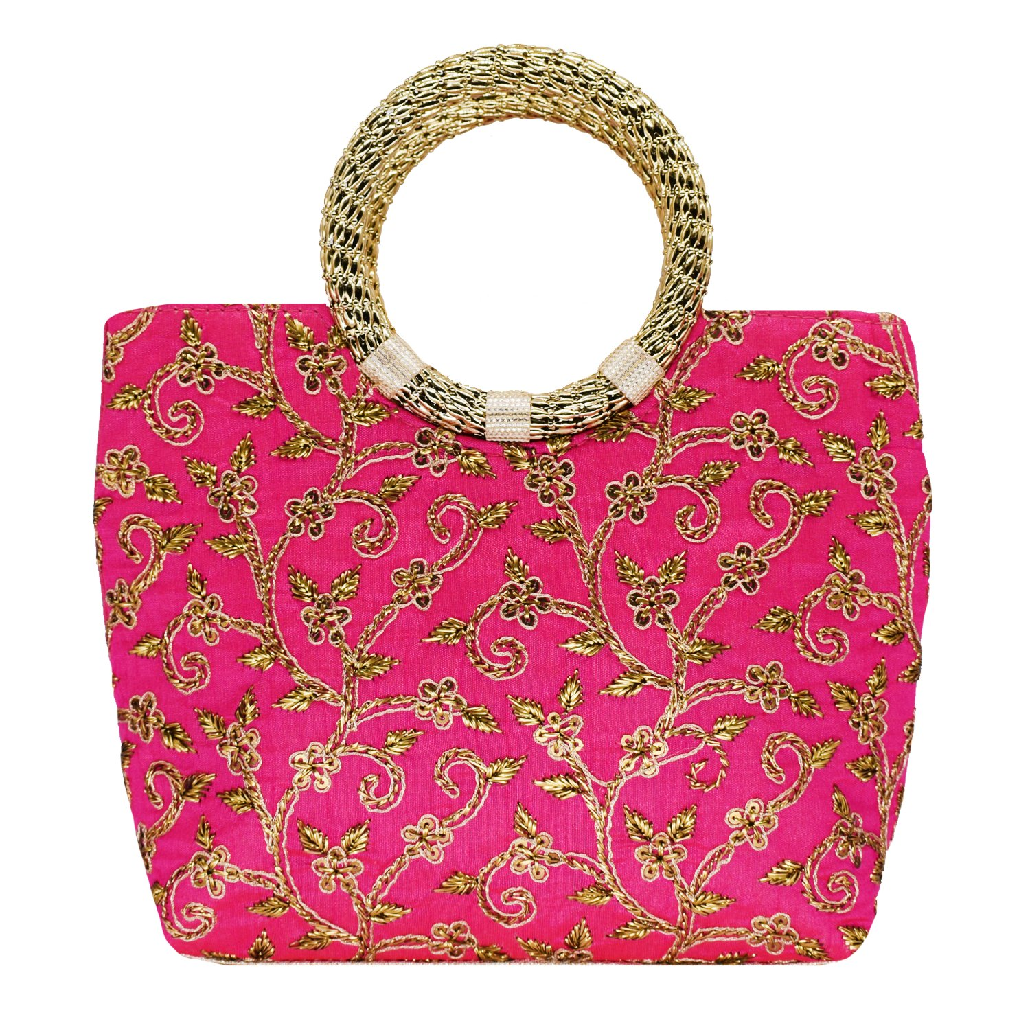 Ethnic Silk Hand Bag with Embroidery Work (Pink) - Bagaholics Gift