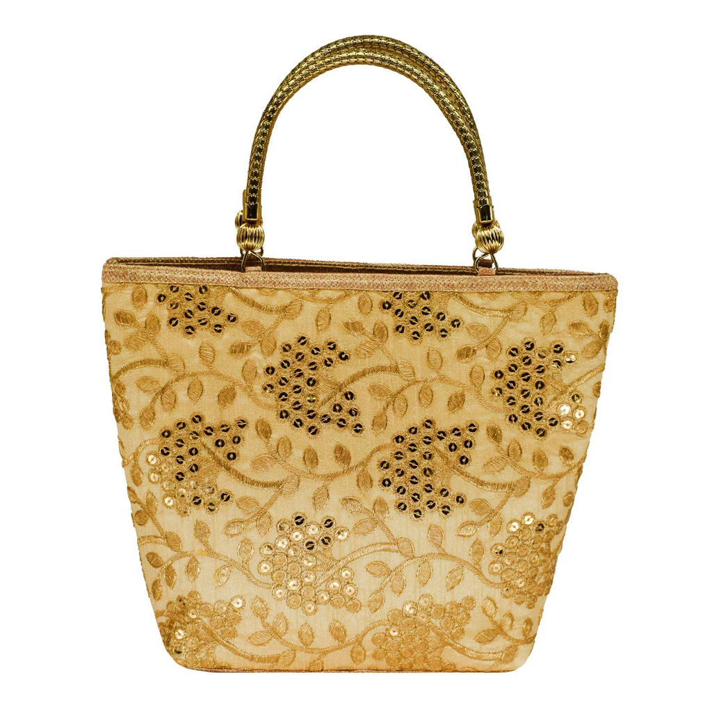 Ethnic embroidery Silk Clutch Bag  (Gold) - Bagaholics Gift