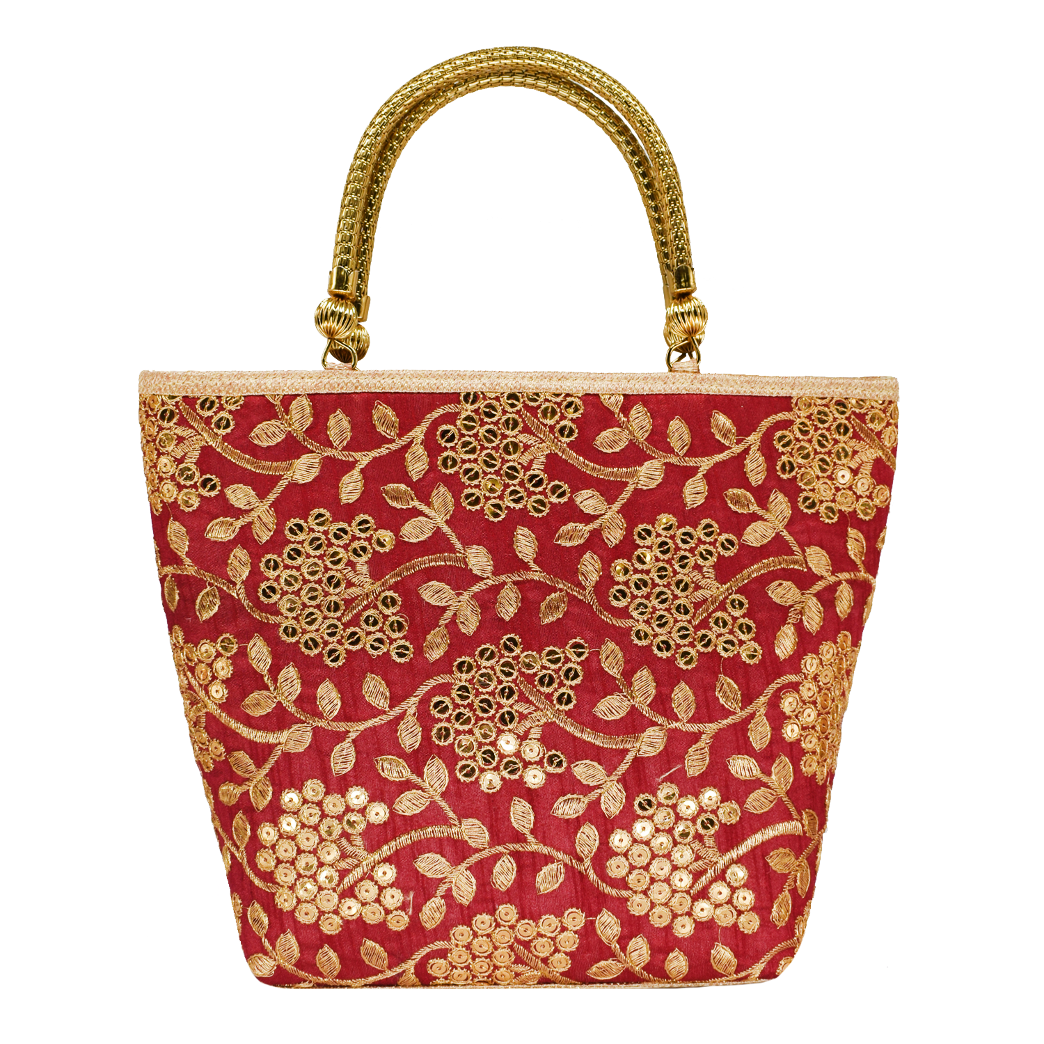 Ethnic embroidery Silk Clutch Bag  (Maroon) - Bagaholics Gift
