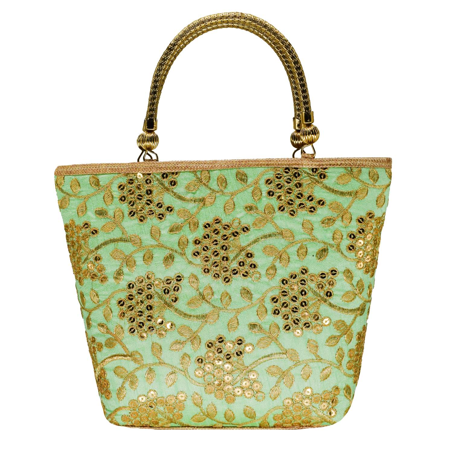 Ethnic embroidery Silk Clutch Bag  (Green) - Bagaholics Gift