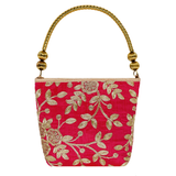 Ethnic embroidery Silk Clutch Bag  (Pink) - Bagaholics Gift