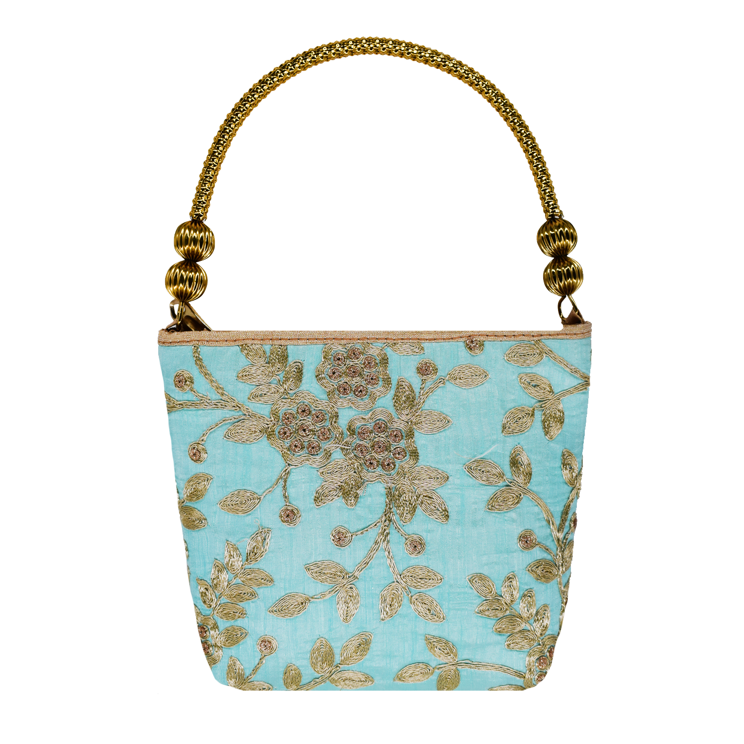 Ethnic embroidery Silk Clutch Bag  (Turquoise) - Bagaholics Gift