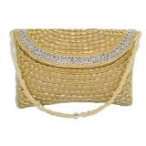 Ethnic Beads & Pearl Clutch Diamond Studded Clutch (Gold) - Bagaholics Gift