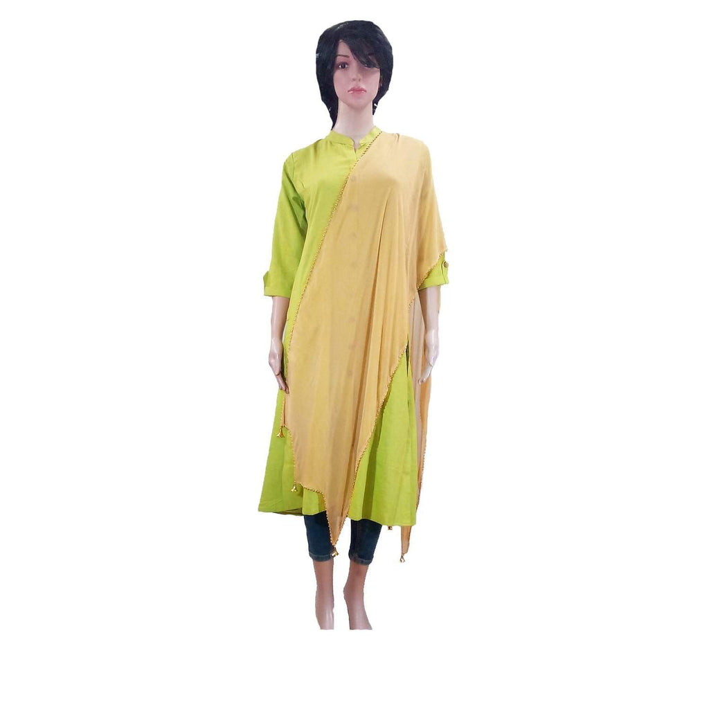 Gold Synthetic Chiffon Dupatta - Bagaholics Gift