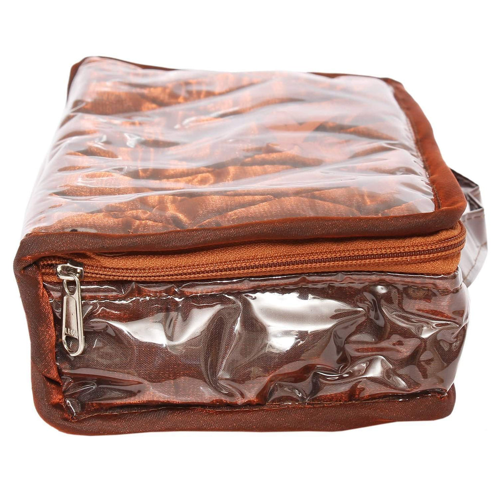 Orange Makeup pouch (4 Zip Pockets) - Bagaholics Gift