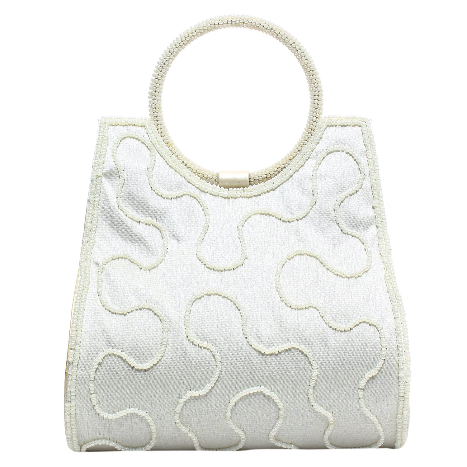 Ethnic Beads & Pearl Clutch (White) - Bagaholics Gift