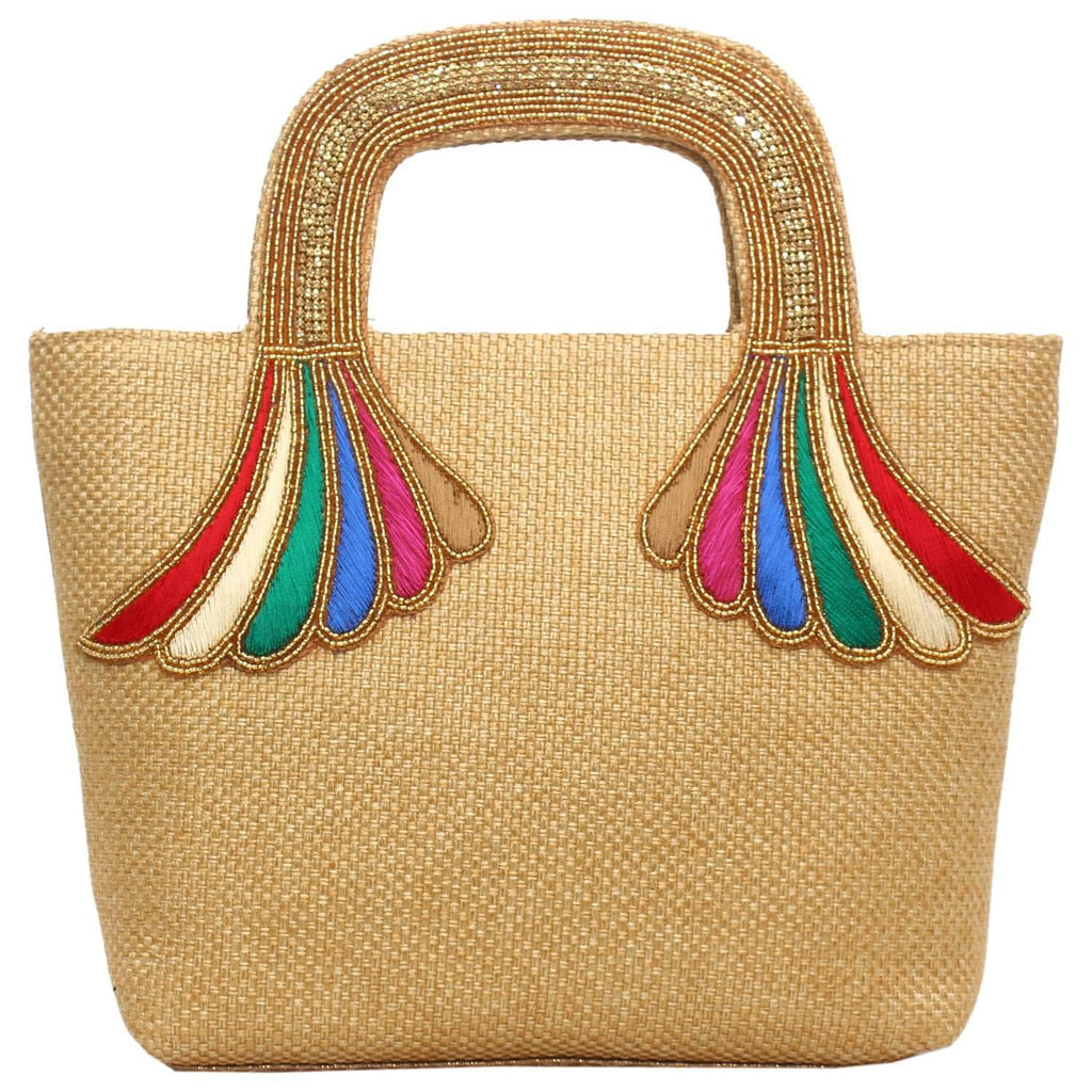 Ethnic Embroidery Handbag (Gold) - Bagaholics Gift