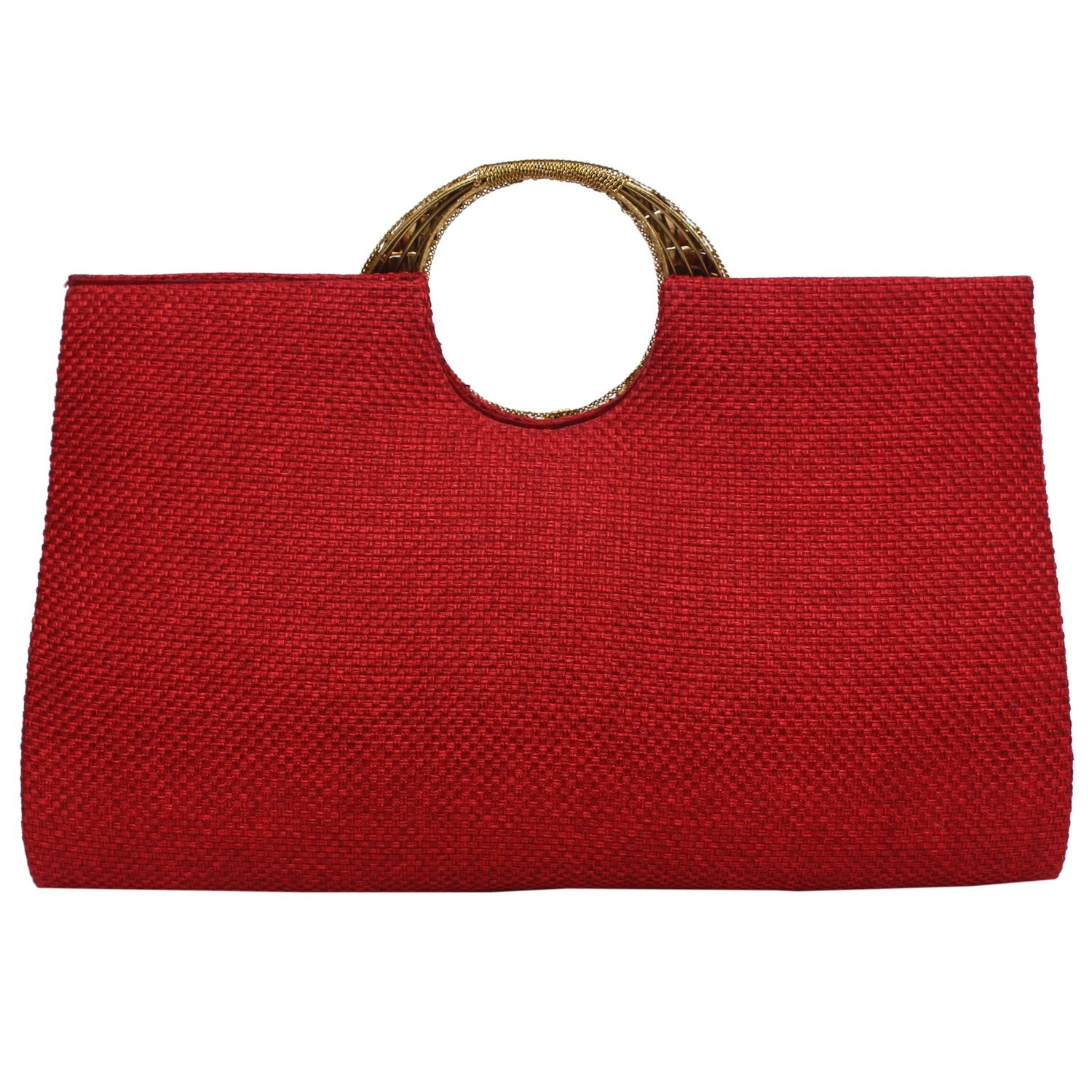Ethnic Beads and Stylish Stone Jute Clutch (Maroon) - Bagaholics Gift