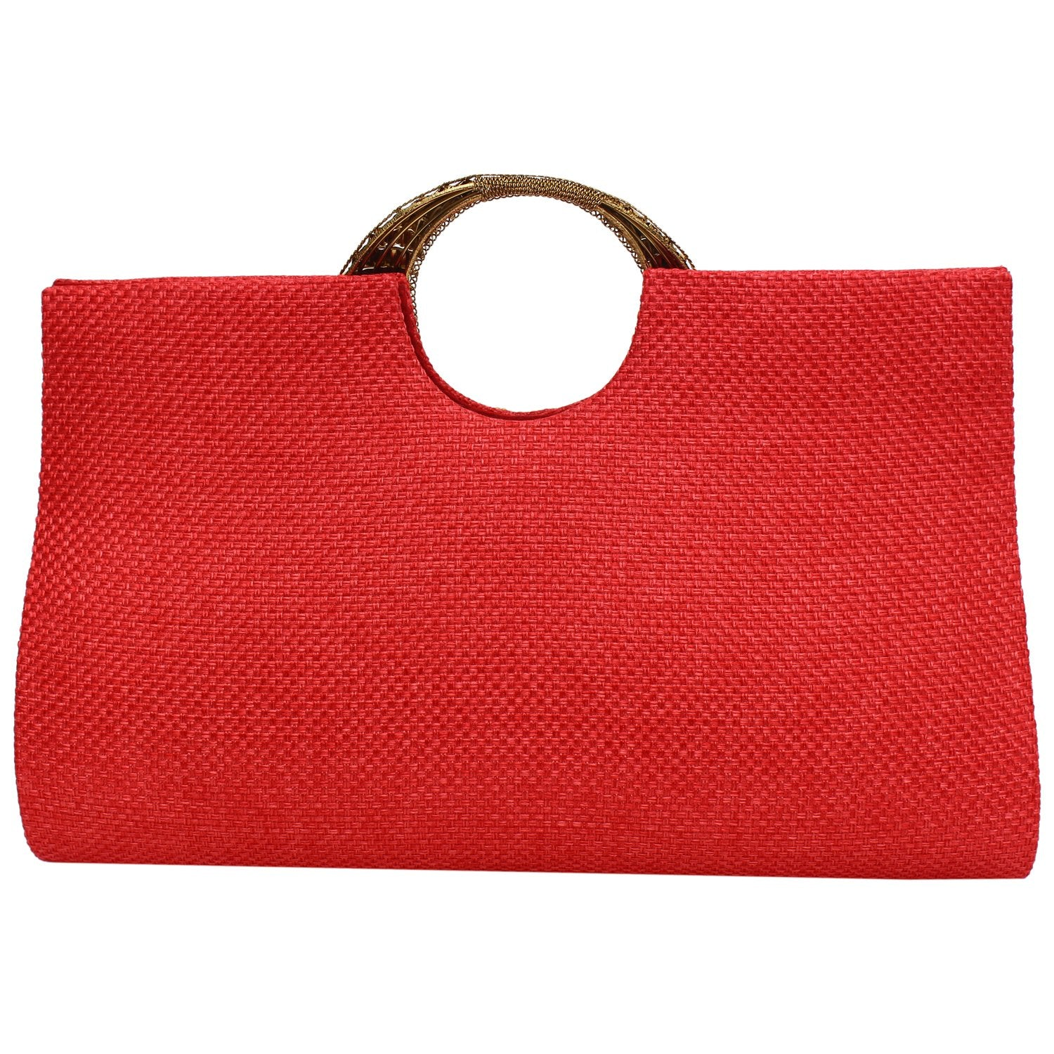 Ethnic Beads and Stylish Stone Jute Clutch (Red) - Bagaholics Gift