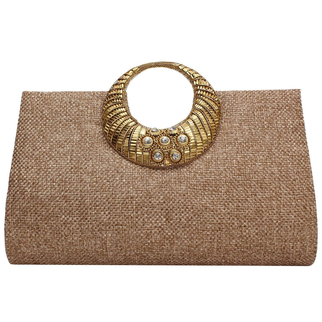 Ethnic Beads and Stylish Stone Jute Clutch (Dark Gold) - Bagaholics Gift