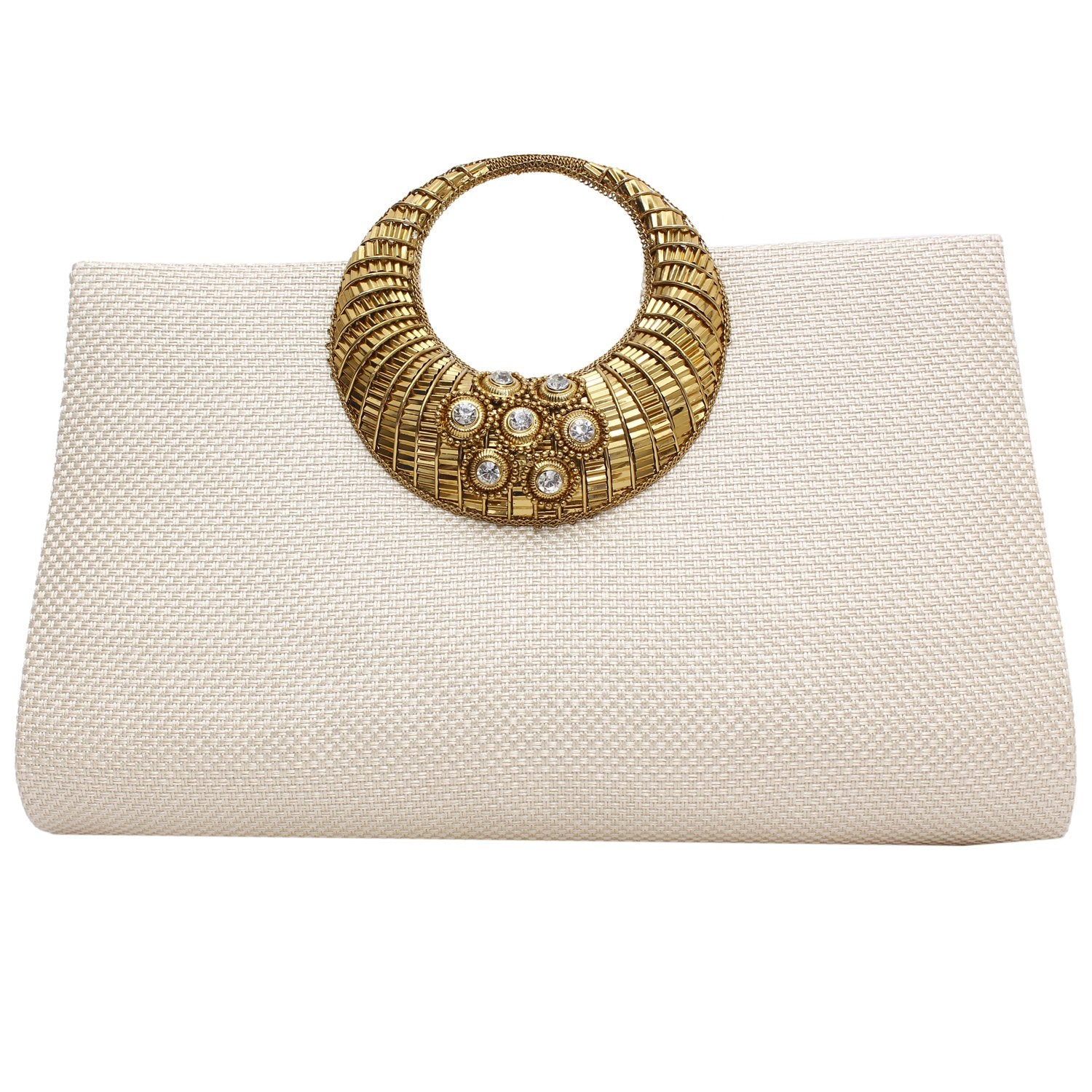 Ethnic Beads and Stylish Stone Jute Clutch (White) - Bagaholics Gift