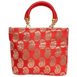 Raw silk Ethnic Handbag (Red) - Bagaholics Gift