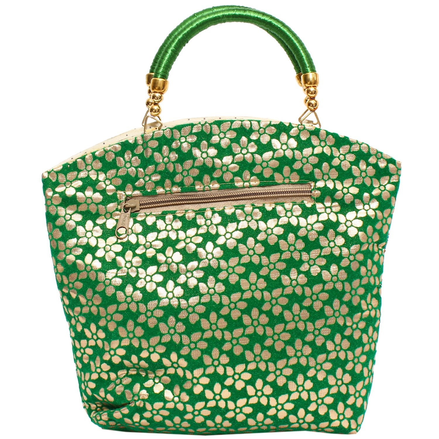 Raw silk Ethnic Handbag (Green) - Bagaholics Gift