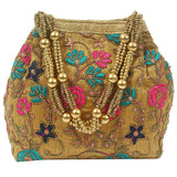 Ethnic Silk Potli Bag Batwa Pouch (Dark Gold)