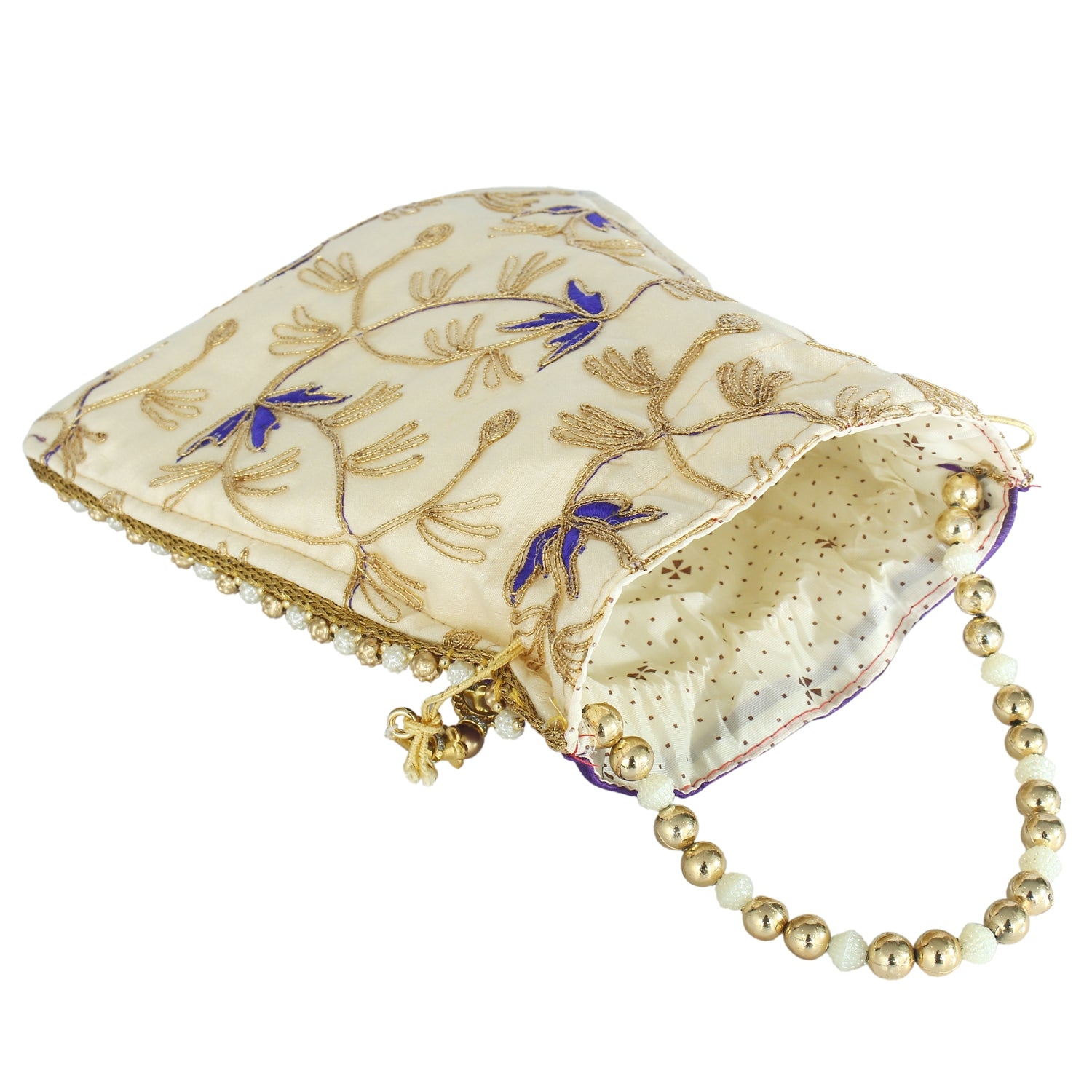 Ethnic Silk Potli Batwa Pouch Bag with Embroidery work (Purple) - Bagaholics Gift