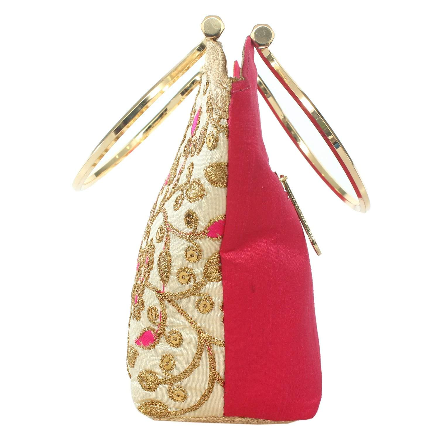 Ethnic Silk Clutch Hand Bag (Pink) - Bagaholics Gift