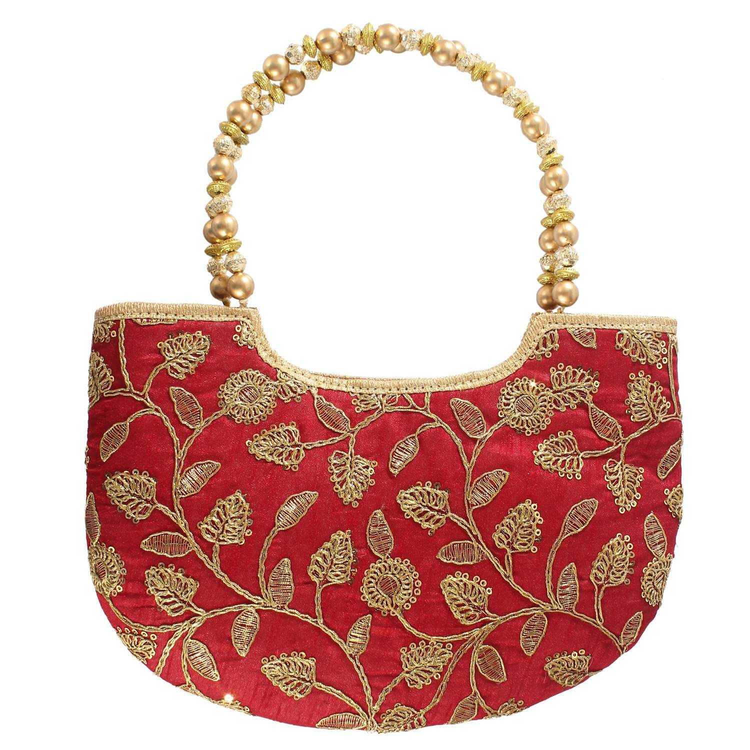 Ethnic Silk Hand Bag with Embroidery Work (Maroon) - Bagaholics Gift