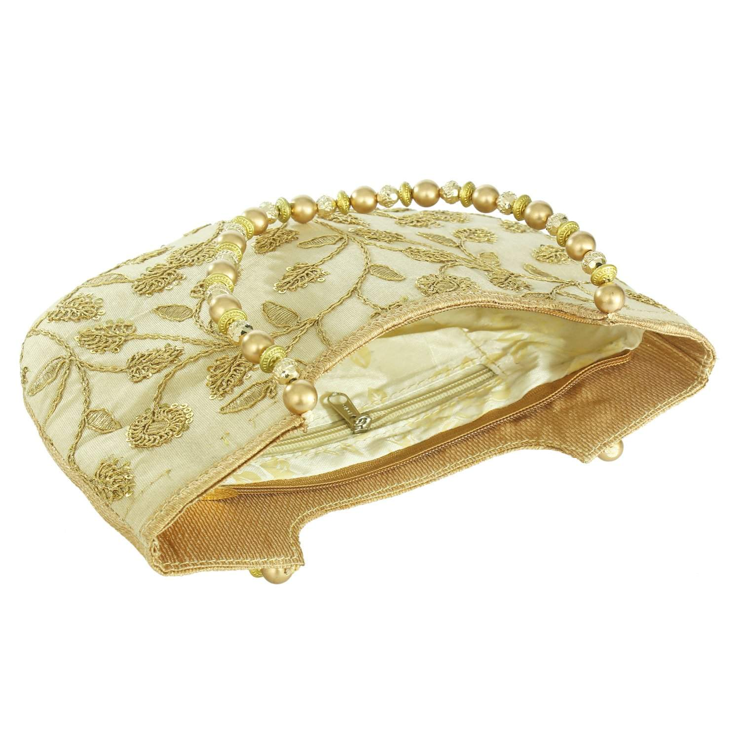 Ethnic Silk Hand Bag with Embroidery Work (Gold) - Bagaholics Gift