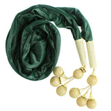 Woman's Dupatta with Pom Pom Lace (Dark Green) - Bagaholics Gift
