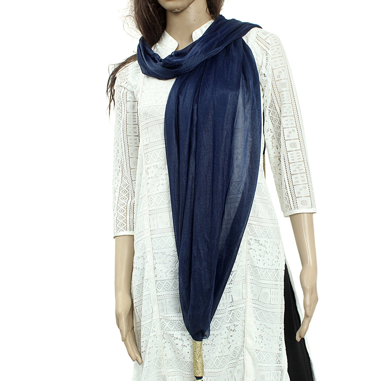 Woman's Dupatta with Pom Pom Lace (Dark Blue) - Bagaholics Gift