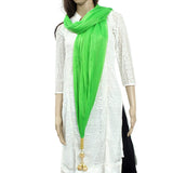 Woman's Dupatta with Pom Pom Lace (Light Green) - Bagaholics Gift