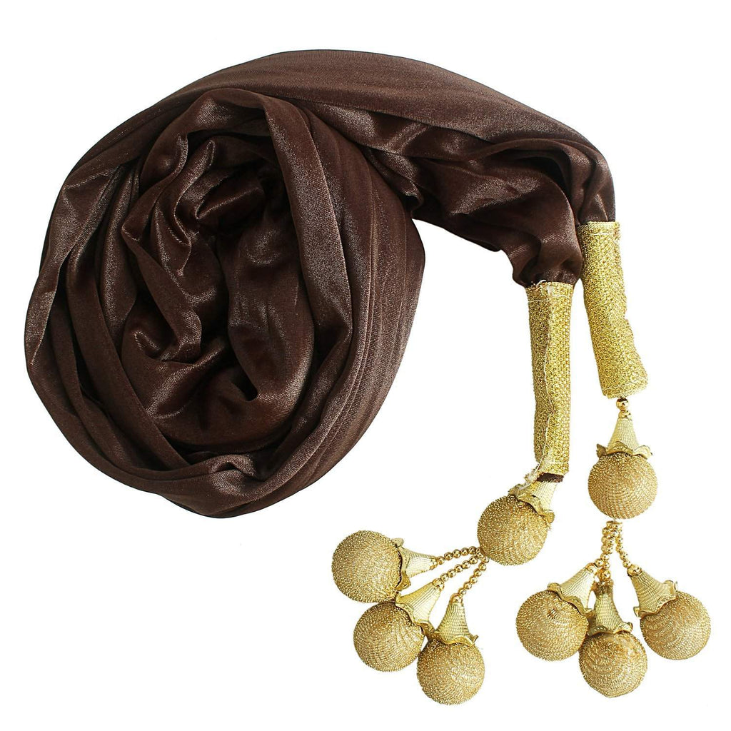 Woman's Dupatta with Pom Pom Lace (Brown) - Bagaholics Gift