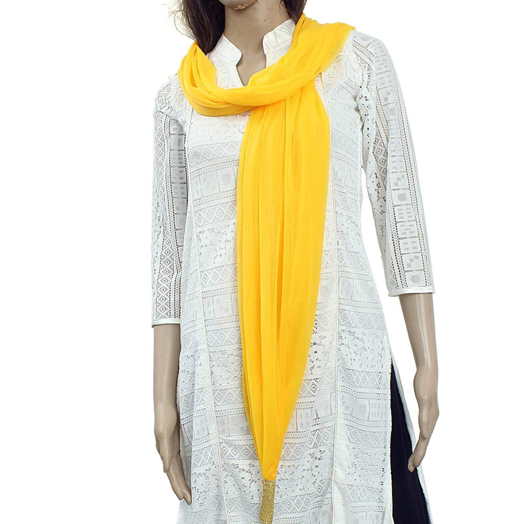 Woman's Dupatta with Pom Pom Lace (Yellow) - Bagaholics Gift