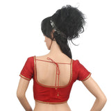 Golden Lace Sleeveless Readymade Designer Saree Blouse (Red) - Bagaholics Gift