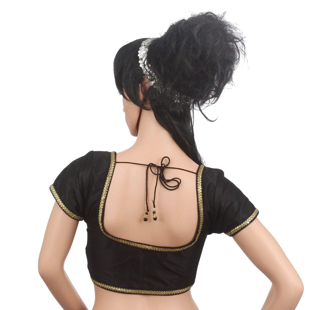 Golden Lace Sleeveless Readymade Designer Saree Blouse (Black) - Bagaholics Gift
