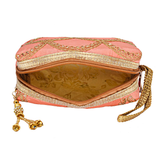 Ethnic Raw Silk Embroidery Multipurpose Pouch (Orange) - Bagaholics Gift