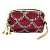 Ethnic Raw Silk Embroidery Multipurpose Pouch (Maroon) - Bagaholics Gift
