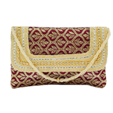 Ethnic Beads and Diamond Studded Silk Clutch (Maroon) - Bagaholics Gift