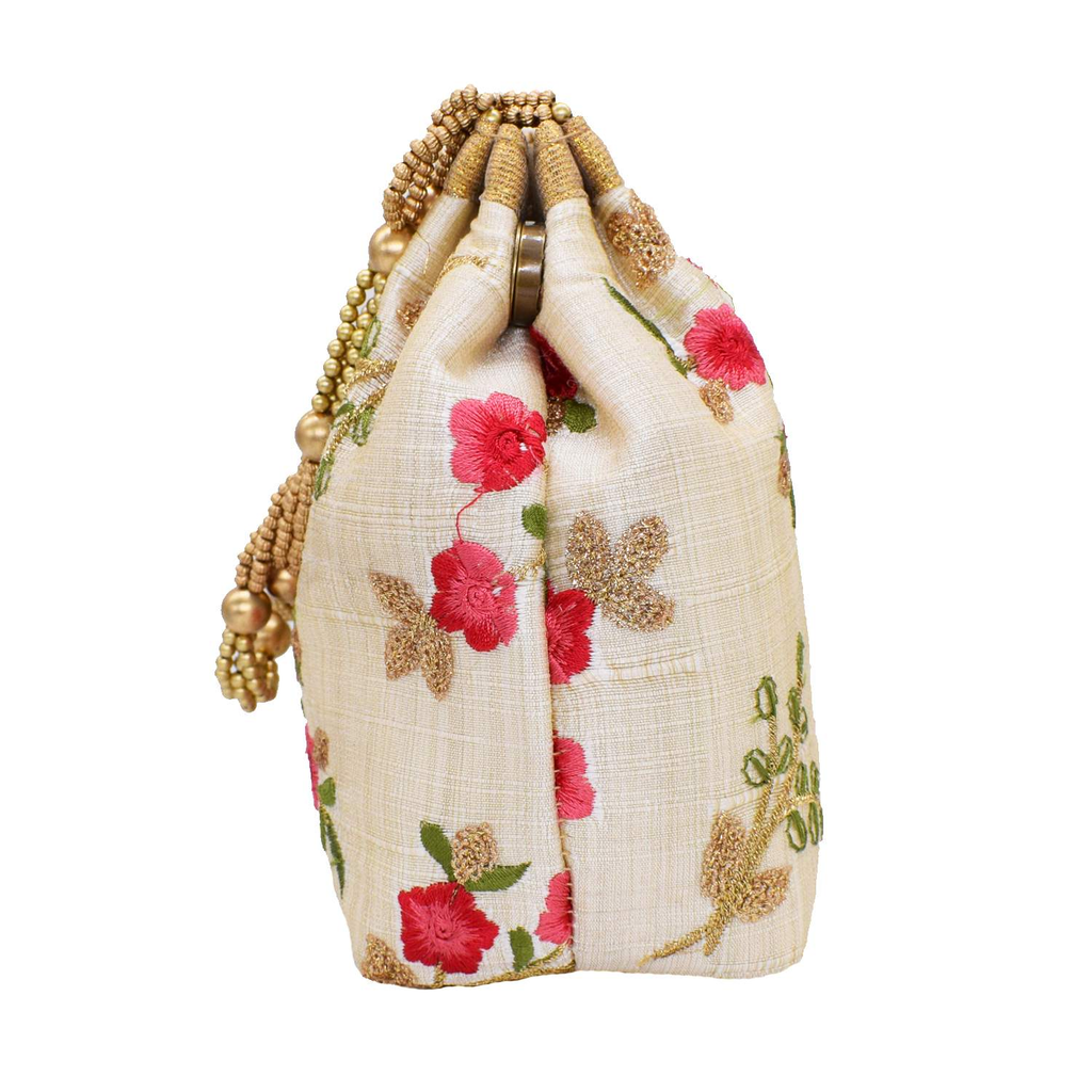 Ethnic Silk Potli Bag Batwa Pouch(Light Gold) - Bagaholics Gift