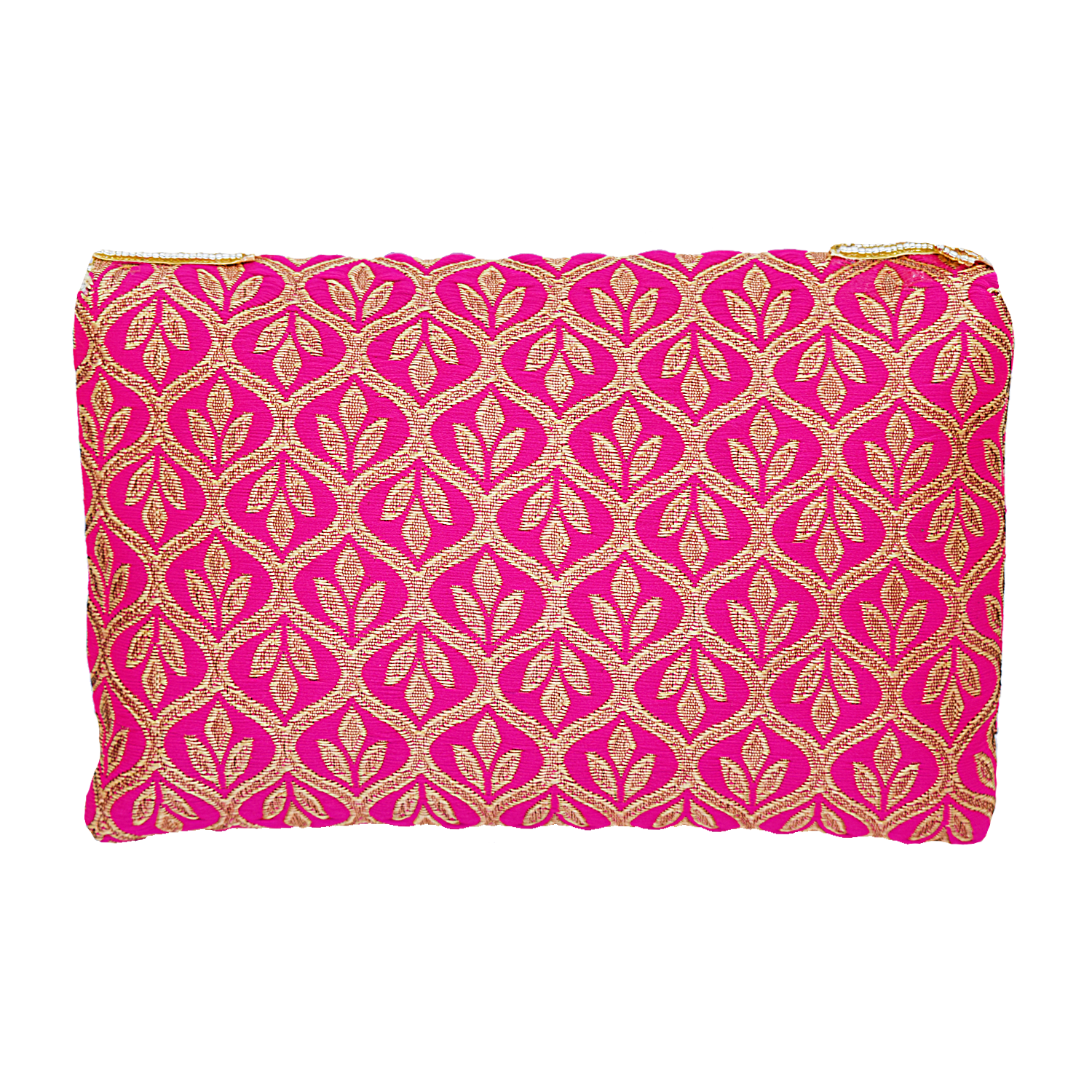 Ethnic Beads and Diamond Studded Silk Clutch (Pink) - Bagaholics Gift