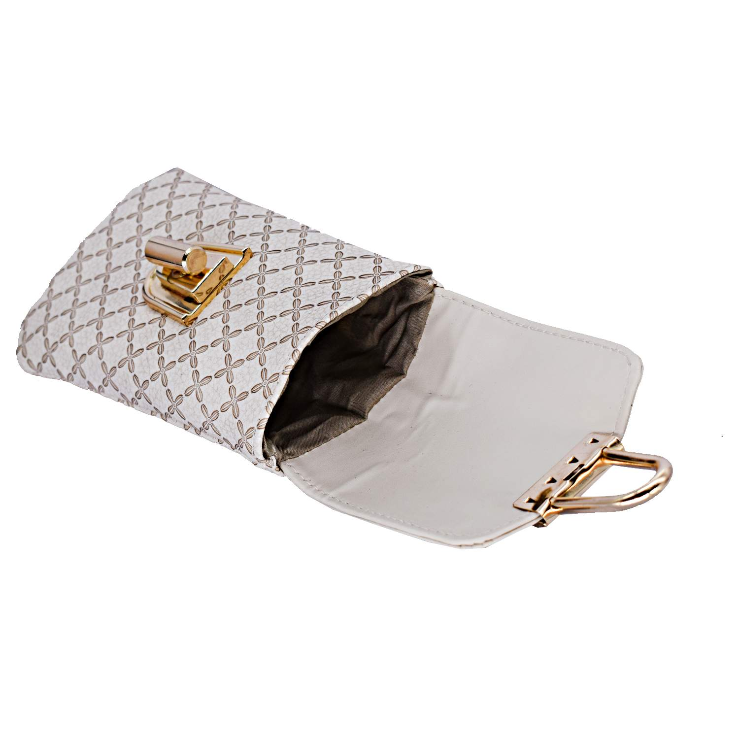 Ethnic Leather Saree Clutch Mobile Pouch Waist Clip Pouch (White) - Bagaholics Gift