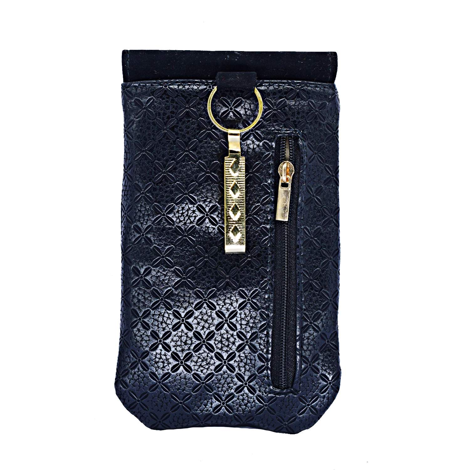 Ethnic Leather Saree Clutch Mobile Pouch Waist Clip Pouch (Black) - Bagaholics Gift
